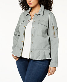 Style & Co Plus Size Cotton Peplum Jacket, Created for Macy's