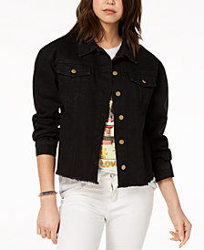Say What? Juniors' Cotton Embroidered Denim Jacket
