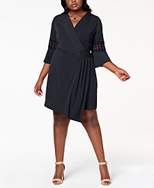 NY Collection Plus Size Crochet-Sleeve Wrap Dress