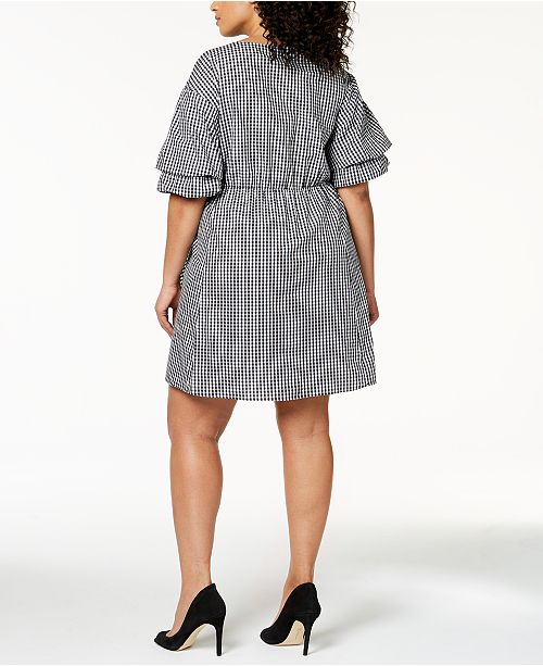 3379c6c8a4 NY Collection Plus Size Cotton Gingham Wrap Dress   Reviews ...