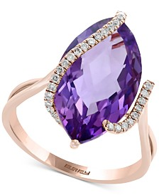 EFFY® Pink Amethyst (6-5/8 ct. t.w.) & Diamond (1/8 ct. t.w.) Ring in 14k Rose Gold