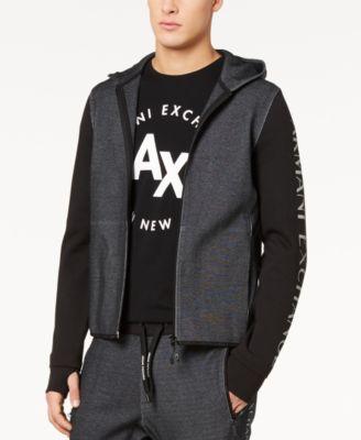 |X Armani Exchange Men's Colorblocked Logo-Print Double-Knit Hoodie