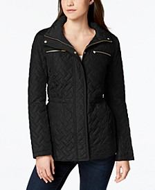 Signature Faux-Leather-Trim Quilted Anorak Coat