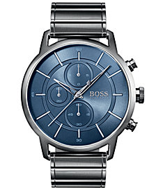 BOSS Hugo Boss Men's Chronograph Architectural Gray Stainless Steel Bracelet Watch 44mm