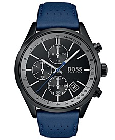 Hugo Boss Men's Chronograph Grand Prix Blue Perforated Leather Strap Watch 44mm