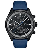 5c1629b50 BOSS Hugo Boss Men's Chronograph Grand Prix Blue Perforated Leather Strap  Watch 44mm