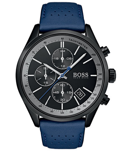 BOSS Hugo Boss Men's Chronograph Grand Prix Blue Perforated Leather Strap Watch 44mm