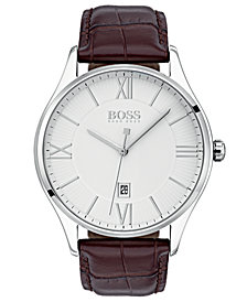 BOSS Hugo Boss Men's Governor Brown Leather Strap Watch 44mm