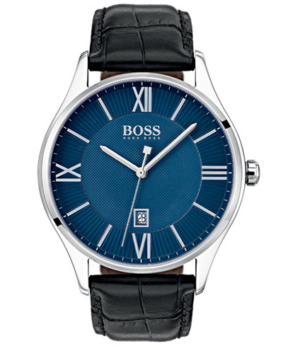 BOSS Hugo Boss Men's Governor Black Leather Strap Watch 44mm
