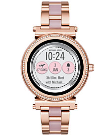 Michael Kors Access Women's Sofie Rose Gold-Tone Stainless Steel & Blush Acetate Bracelet Touchscreen Smart Watch 42mm