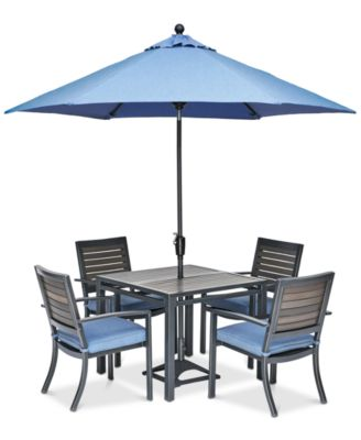 """Harlough II 5-Pc. Outdoor Dining Set (36"""" Square Dining Table and 4 Dining Chairs) with Sunbrella® Cushions, Created for Macy's"""