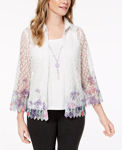 Alfred Dunner Petite Roman Holiday Layered-Look Necklace Top