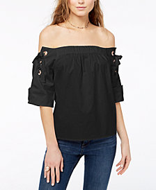 One Hart Juniors' Cotton Off-The-Shoulder Top, Created for Macy's