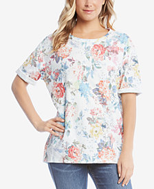 Karen Kane Cotton Printed Cuffed T-Shirt