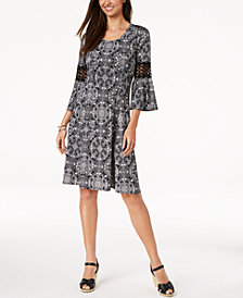 NY Collection Petite Printed Crochet-Sleeve A-Line Dress