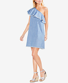 Vince Camuto Cotton Frayed-Ruffle One-Shoulder Dress