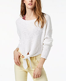 One Hart Juniors' Tie-Front Sweater, Created for Macy's