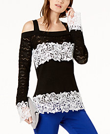 I.N.C. Petite Pointelle & Lace Cold-Shoulder Sweater, Created for Macy's