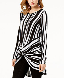I.N.C. Striped Twist-Front Tunic, Created for Macy's