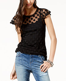I.N.C. Mesh Polka-Dot Top, Created for Macy's