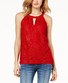 I.N.C. Lace Keyhole Top, Created for Macy's