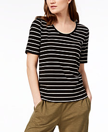 Eileen Fisher Tencel® Striped Ribbed T-Shirt, Created for Macy's