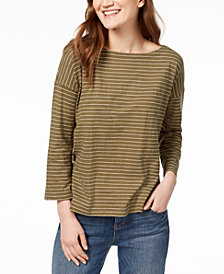 Eileen Fisher Striped Drop-Shoulder T-Shirt, Created for Macy's