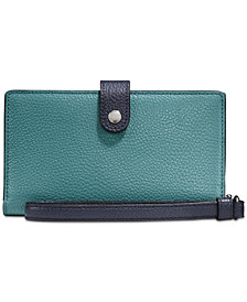 COACH Phone Wristlet in Polished Pebble Leather