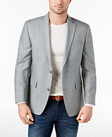 CLOSEOUT! Michael Kors Men's Classic-Fit Gray/Blue Plaid Silk and Wool Sport Coat