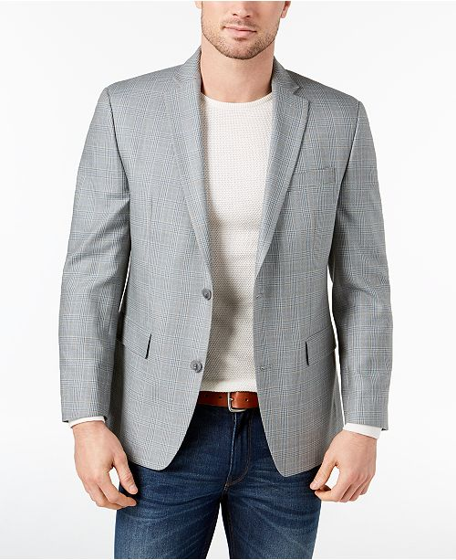 3235eb861 Michael Kors CLOSEOUT! Men's Classic-Fit Gray/Blue Plaid Silk and ...
