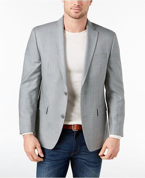 1227d7d91aa0 Men's Classic-Fit Gray/Blue Plaid Silk and Wool Sport Coat