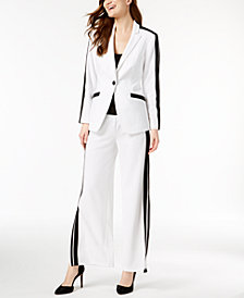I.N.C. Petite Striped Blazer & Split-Leg Pants, Created for Macy's
