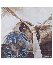 """INK+IVY 'History Of Aviation II' 30"""" x 30"""" Printed Silver Metallic Canvas Print"""
