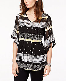 Style & Co V-Neck Mixed-Print Top, Created for Macy's