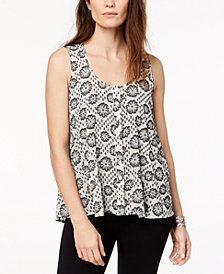 Style & Co Printed Sleeveless Button-Front Top, Created for Macy's