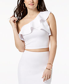 GUESS Molly Cropped One-Shoulder Flounce Top