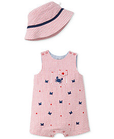 Little Me 2-Pc. Striped Seersucker Cotton Hat & Romper Set, Baby Boys