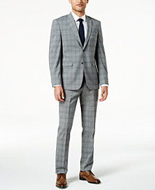 Original Penguin Men's Slim-Fit Stretch Gray Plaid Suit
