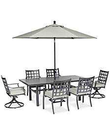 "Highland Aluminum Outdoor 7-Pc. Dining Set (84"" x 42"" Dining Table, 4 Dining Chairs and 2 Swivel Rockers) with Sunbrella® Cushions, Created for Macy's"