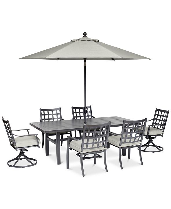 """Furniture Highland Aluminum Outdoor 7-Pc. Dining Set (84"""" x 42"""" Dining Table, 4 Dining Chairs and 2 Swivel Rockers) with Sunbrella® Cushions, Created for Macy's"""