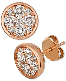 Strawberry & Nude™ Diamond Cluster Stud Earrings (1 ct t.w.)