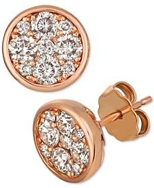 Strawberry & Nude™ Diamond Cluster Stud Earrings (1 ct t.w.)