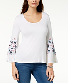 Love Scarlett Petite Embroidered Bell-Sleeve Top, Created for Macy's