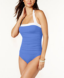 Lauren Ralph Lauren Tummy-Control Ruched Halter One-Piece Swimsuit