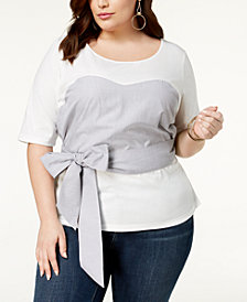 Say What? Trendy Plus Size Cotton Tie-Front Top