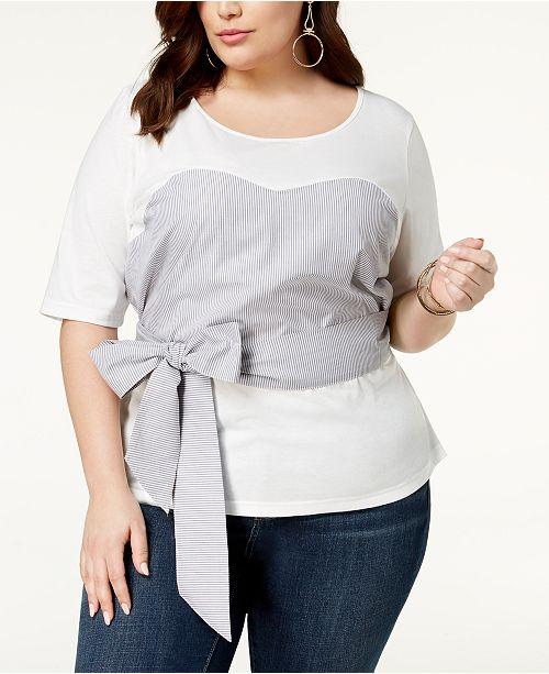 Trendy Plus Size Cotton Tie-Front Top