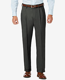 J.M. Haggar Sharkskin Classic-Fit Pleated Hidden Expandable Waistband Dress Pants