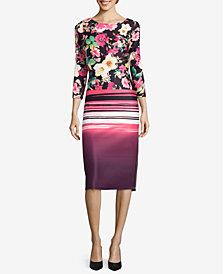 ECI Mixed-Print Sheath Dress