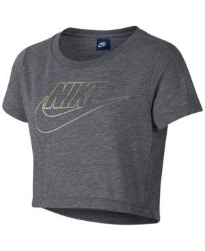 Nike Sportswear Logo-Print Cropped T-Shirt, Big Girls