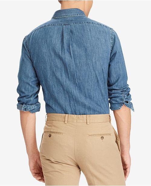 39d4ff5d76 Polo Ralph Lauren Men s Classic-Fit Denim Shirt   Reviews - Casual ...